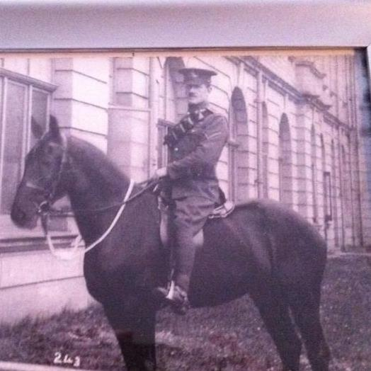 John Hanley Kidd, Captain, Royal Horse Artillery, WWI, around 1915, on horse Gypsy