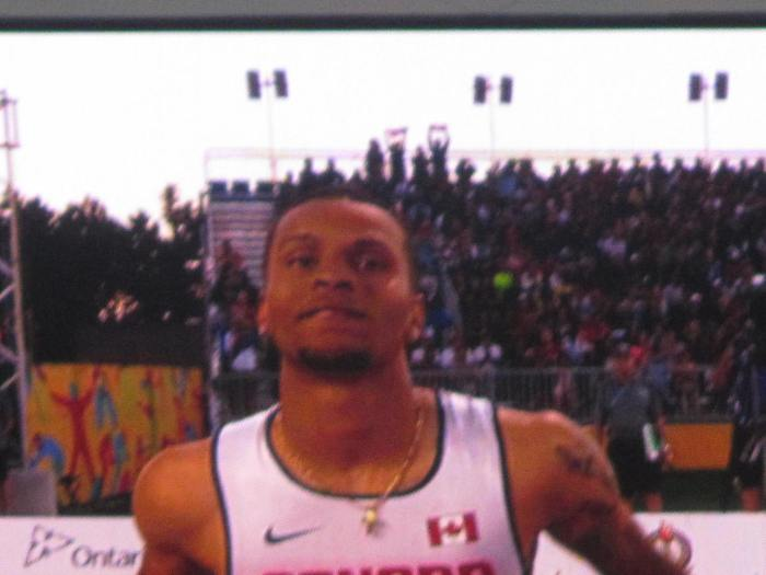 Andre De Grasse after winning the 100 metres.