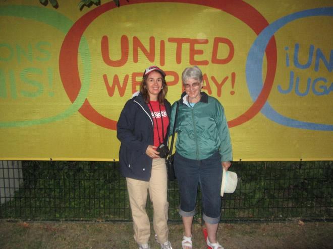My mother and I outside Athletics Stadium.