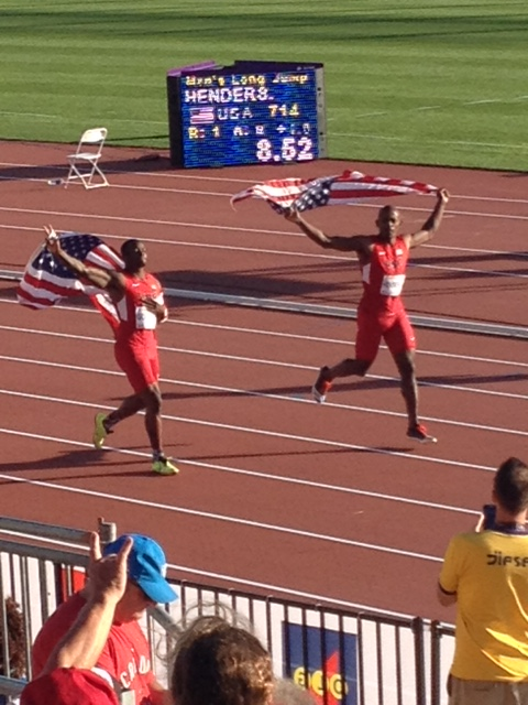 Marquise Goodwin, left and Jeffery Henderson, celebrate silver and gold respectively in long jump.