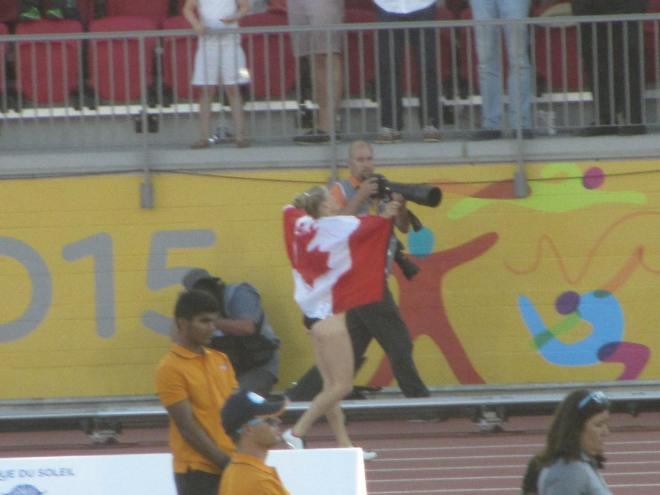 Melissa Bishop celebrates her win in the 800 metres.