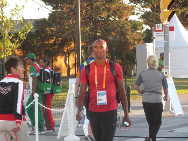 Damian Warner of London after Day 1 of the decathlon