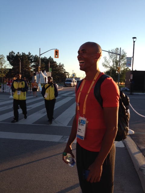 Damian Warner after the day's competition.